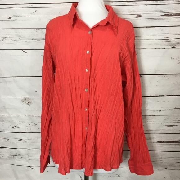 b5eb4bf3e Chico's Tops | Chicos Size 2 Crinkle Orange Blouse Shirt | Poshmark
